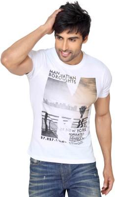 Astron Graphic Print Men's Round Neck White T-Shirt