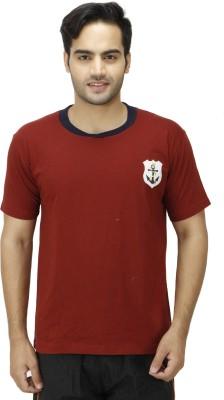 1OAK Solid Men's Round Neck Brown T-Shirt