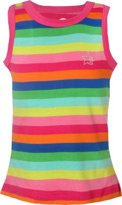 VITAMINS Striped Girl's Round Neck Pink T-Shirt