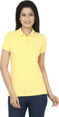 Wills Lifestyle Solid Women's Polo Yellow T-Shirt