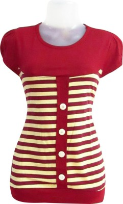 Revinfashions Solid Women's Round Neck Red T-Shirt