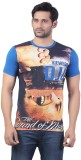 Bfly Printed Men's Round Neck Blue T-Shi...