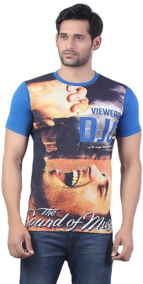 Bfly Printed Men's Round Neck Blue T-Shirt