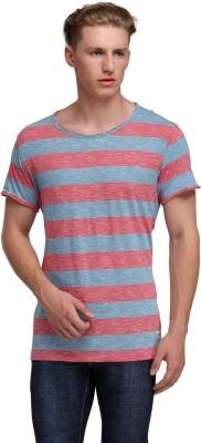 Kotty Striped Men's Round Neck Grey, Red T-Shirt
