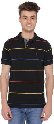 Greenfibre Striped Men's Polo Neck Black T-Shirt