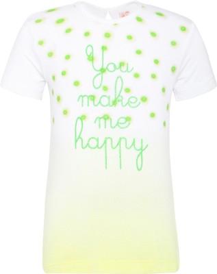 FS Mini Klub Graphic Print Baby Girl's Round Neck Green T-Shirt