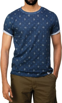 UnKonventional Printed Men's Round Neck Blue T-Shirt