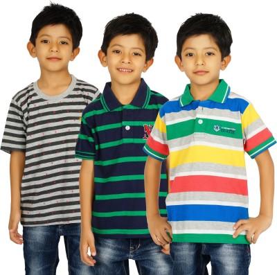 Shaun Striped Boy's Polo, Round Neck Multicolor T-Shirt