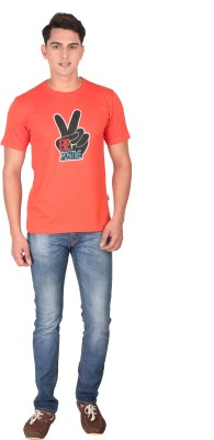 Tohfaa Printed Men's Round Neck Orange T-Shirt