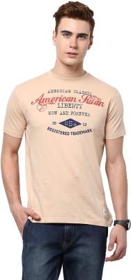 American Swan Graphic Print Men's Round Neck Brown T-Shirt