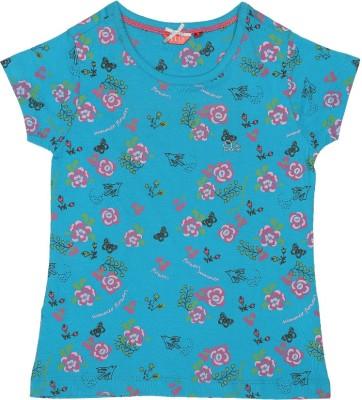 Elle Floral Print Girl's Round Neck Blue T-Shirt