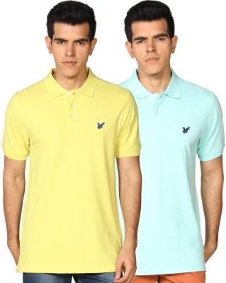 Provogue Solid Men's Polo Neck Green, Yellow T-Shirt