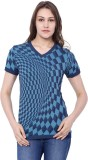 C9 Checkered Women's V-neck Blue T-Shirt