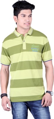 Numalo Striped, Embroidered Men,s Polo Neck Green, Light Green T-Shirt