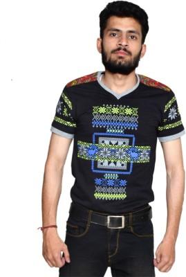 allrugget Printed Boy's V-neck Black, Green, Blue T-Shirt