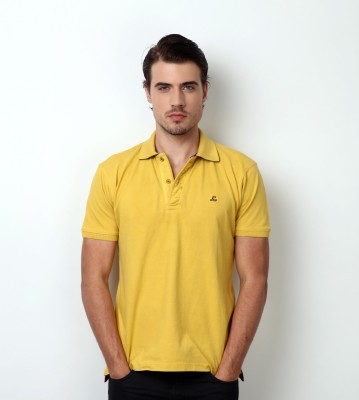 Bombay High Solid Men,s Polo Yellow T-Shirt