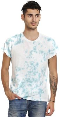 Skatti Solid Men,s Round Neck Blue T-Shirt