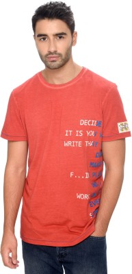 Be Pure Printed Men's Round Neck Red T-Shirt