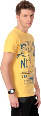 Howzat Printed Men's Round Neck Yellow T-Shirt