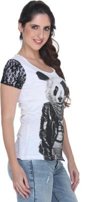 Fast n Fashion Graphic Print Women's Scoop Neck White T-Shirt
