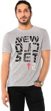 Ebry Printed Men's Round Neck Grey T-Shi...
