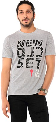 Ebry Printed Men's Round Neck Grey T-Shirt