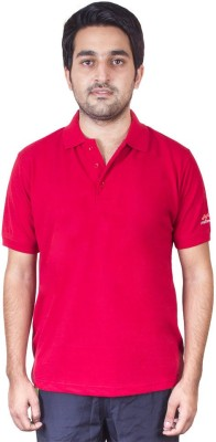 FastFox Solid Men's Polo Neck Red T-Shirt