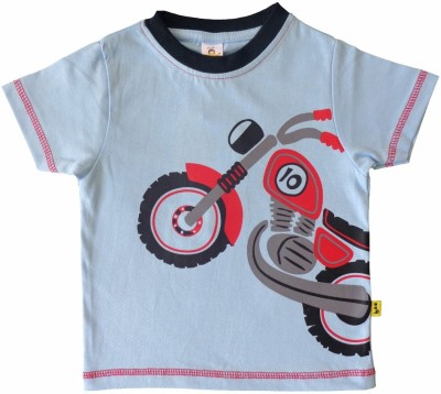 Tiny Bee Printed Baby Boy,s Round Neck Blue T-Shirt