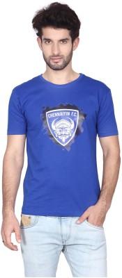 Gol Chennaiyin Fc Printed Men's Round Neck Blue T-Shirt