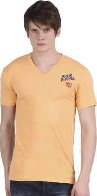 Tease Denim Embroidered Men's V-neck Orange T-Shirt