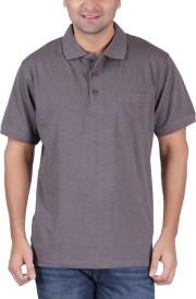 TSHIRT.ind.in Solid Men's Mandarin Collar Grey T-Shirt