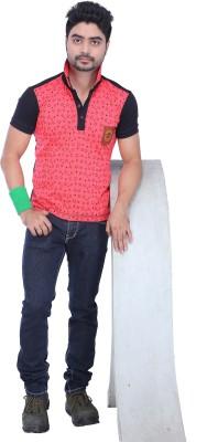AFLASH Printed Men's Polo Pink, Black T-Shirt