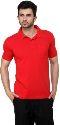 Cotton County Premium Solid Men's Flap Collar Neck Red T-Shirt
