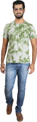 Pick Indiana Printed, Self Design Men's Round Neck Light Green T-Shirt