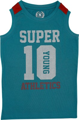 SuperYoung Graphic Print Boy's Round Neck Green T-Shirt