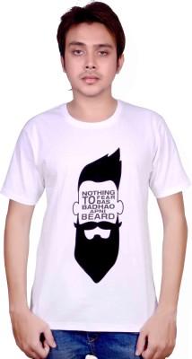 Swadesistuff Printed Men's Round Neck White, Black T-Shirt