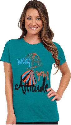 So Sweety Graphic Print Women's Round Neck Dark Green T-Shirt