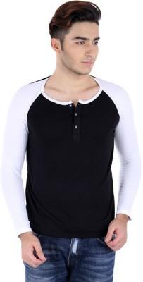 Bigidea Solid Men's Henley Black, White T-Shirt