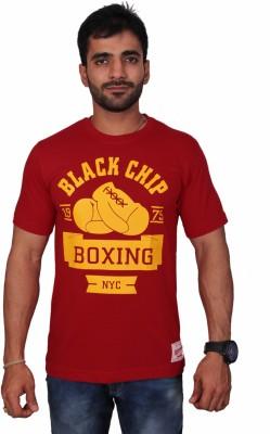 Black Chip Printed Men's Round Neck T-Shirt