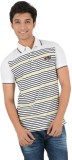 Yellow Tree Striped Men's Polo Neck Yell...