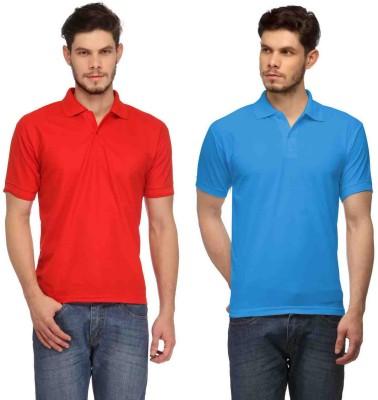 Davie Jones Solid Men's Polo Red, Blue T-Shirt