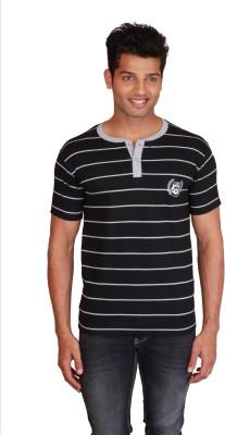 Right Shape Striped Men's Henley Black, Grey T-Shirt