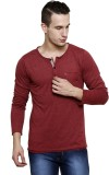 Rigo Solid Men's Henley Maroon T-Shirt