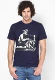 Blotch Printed Men's Round Neck Blue T-S...