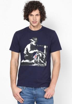 Blotch Printed Men's Round Neck Blue T-Shirt