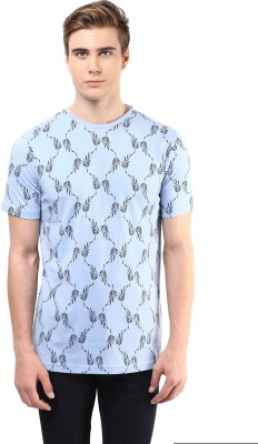 Atorse Printed Men's Round Neck Blue T-Shirt