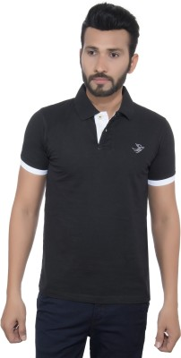 GreyBooze Solid Men's Polo Black T-Shirt