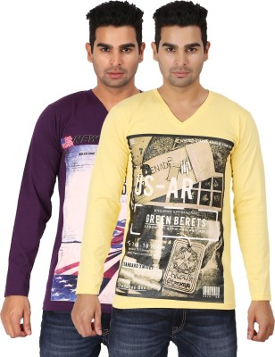 Lyril Printed Mens V-neck Purple, Yellow T-Shirt