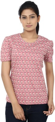 Reevolution Floral Print Women's Round Neck Pink, White T-Shirt