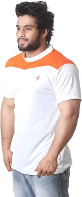 Stylar Solid Men's Round Neck White, Orange T-Shirt